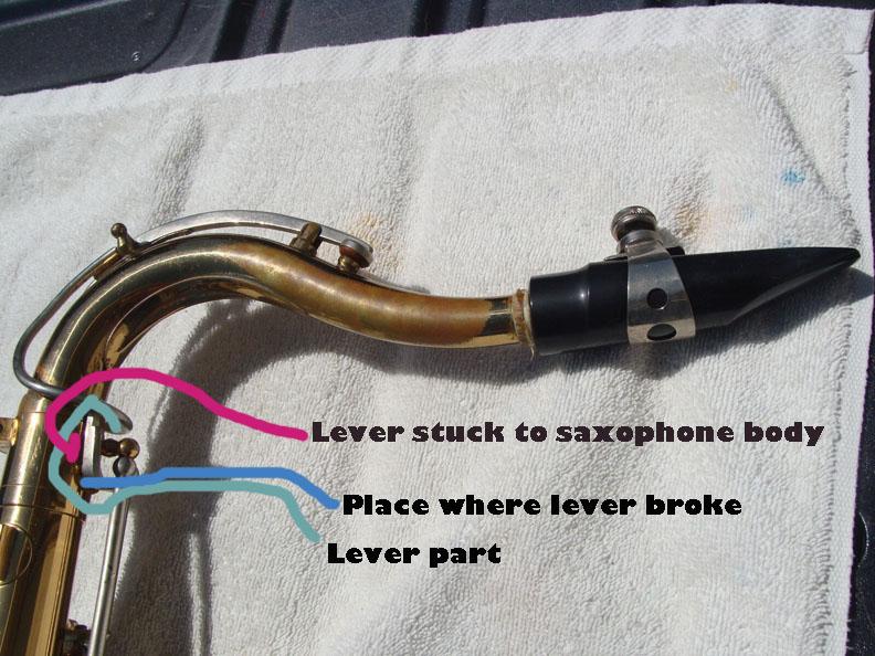 La Sete Tenor Saxophone lever glued to body where it is broken 14 copy.jpg