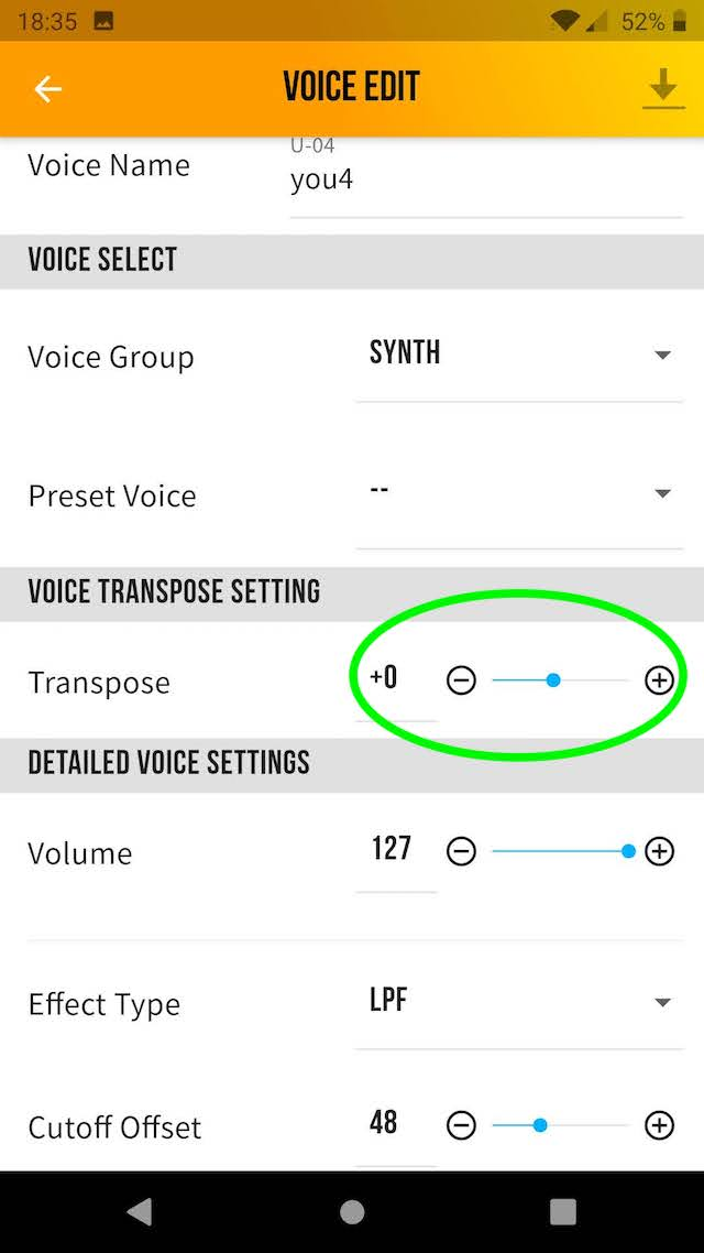 Sound (voice) parameters YDS-150
